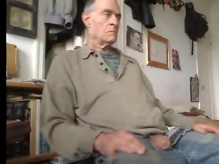 Grandpa showing off his fat uncut cock and long foreskin