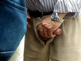 Older man fucking outdoors