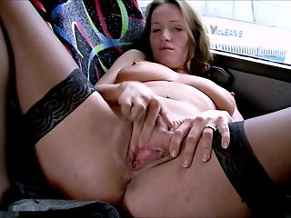 British Whore Marlyn Masturbates On The Bus
