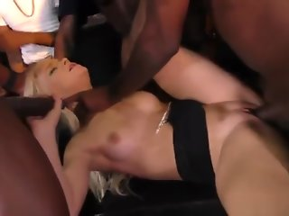 Dumb blonde nympho enjoys getting gangbanged by BBC infront of her cuckold