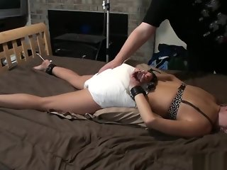 Amber Filling Her Diaper While Bound To Bed