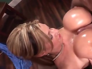 Huge beautiful round fake tits fucked and cummed on