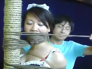 Chinese schoolgirl tied up with pantyhose