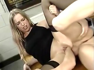 Nerdy German skank gets painfully fisted