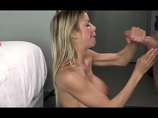 Horny MILF with huge tits gets sprayed with cum
