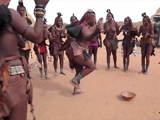 African Himba women dance and swing their saggy tits around