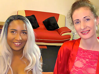 Nervous mid 40s woman's first bukkake with younger black lady