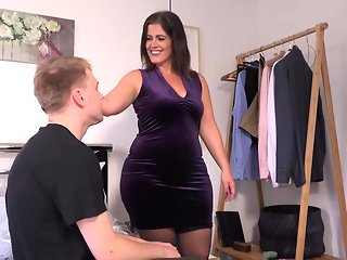 Chubby mature with big boobs, Montse Swinger likes to have casual sex with her sons best friend