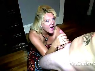 Mature blonde woman, Mrs Baldwin is cheating on her husband, with a neighbor she likes