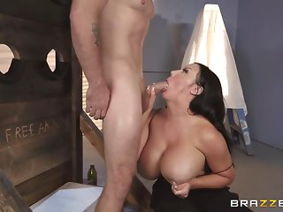 Voluptuous brunette, Sybil Stallone is getting fucked from the back, and enjoying it a lot