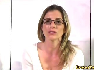 Insatiable blonde housewife with glasses, Cory Chase is eating ass and sucking dick, for free