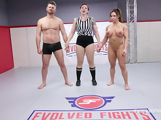 Brandi Mae rough wrestling sex fight vs Jack Friday