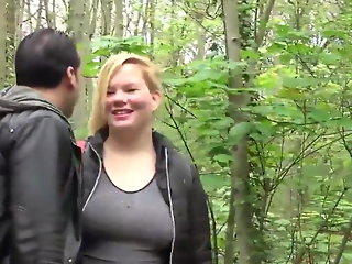 Chubby wife with big tits used by stranger in park