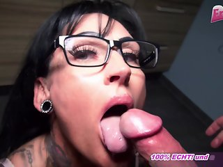 german milf homemade blowjob with cum swallow pov and big tits