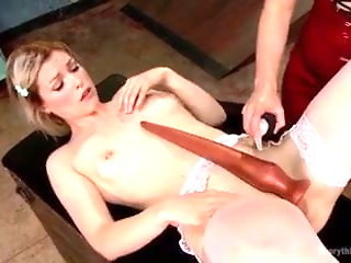 Extreme long dildo insertion in asshole
